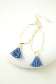 Blue Tassel Earrings Steel Blue Earrings Gold Hexagon Earrings