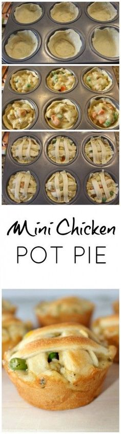 Mini Chicken Pot Pie - easy to make only 4 ingredients - Meals - I Love Food, Good Food, Yummy Food, Great Recipes, Dinner Recipes, Favorite Recipes, Delicious Recipes, Easy Recipes, Easy Chicken Pot Pie