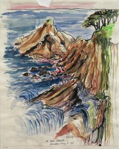 Lawrence Halprin, At Sea Ranch, Sunday June 5 '77 1977, Ink and watercolor on paper
