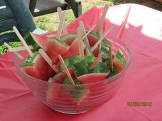 watermellon pops - healthy birthday snack. Watermelon popsicles, iceblocks. Maybe freeze them first. Other fruits would work well too frozen. Banana, Orange segments