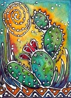 Sun on cactus . Cactus Painting, Cactus Art, Silk Painting, Plant Painting, Watercolor Cactus, Pastel Watercolor, Cactus Decor, Crayons Pastel, Arte Van Gogh