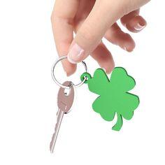 Lucky four leaf clover Irish green shamrock keychain, 3-d printed $8.99