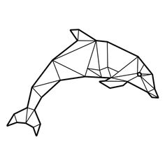 Geometric Drawing, Geometric Shapes, Geometric Animal, 3d Zeichenstift, Dolphin Drawing, Triangle Art, Polygon Art, Tape Art, 3d Pen