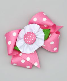 Take a look at this Pink & White Flower Clip by Picture Perfect Hair Bows on #zulily today!