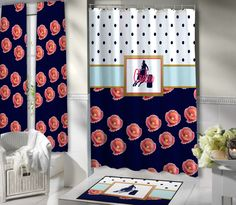 Shower Curtain with Horse on them.  Floral Shower Curtain with Navy Blue Polka Dots and Aqua Stripe.