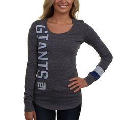 Nike New York Giants Go Long Ladies Long Sleeve T-Shirt - Charcoal
