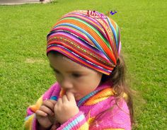 Headkerchief for Girls or Women made of Peruvian Inca Manta Fabric, Hippie Headkerchief, Infant Headband, Rainbow Summer Gifts for Girls - pinned by pin4etsy.com