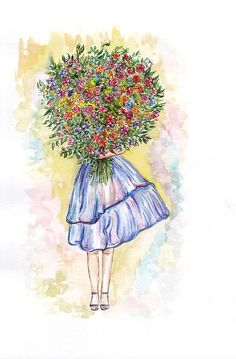 Girl with arms full of flowers. You really are a flower blooming in the Heart of the Universe. Flower Background Wallpaper, Flower Backgrounds, Watercolor Girl, Watercolor Paintings, Beautiful Sketches, Arte Floral, Flower Pictures, Cute Wallpapers, Art Girl