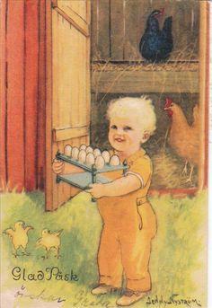 Jenny Nyström, illustrator. Swedish Easter Postcard.