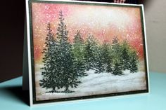 Cheryl Rowley: Cottage Creations: Winter Woods - 1/5/15  (Impression Obsessions: Brush Trees (stamped off).  SU: Lovely As A Tree (large trees).  White pigment ink/ paint brush under trees.  ETC.  Sky: sponged, etc.)  (Pin#1: Christmas: Trees.  Background: Sponged)