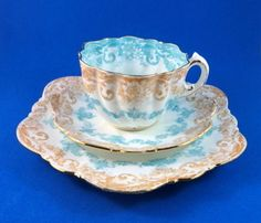 Old Victorian Blue & Brown Design The Paragon China Tea Cup, Saucer & Plate Trio