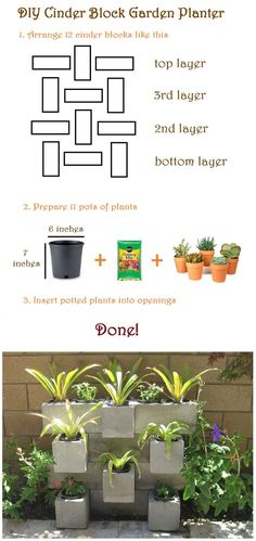 How to make a cinder block garden! Check it out! http://www.craftlikethis.com/diy-cinder-block-garden/ #garden_wall_blocks