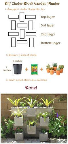 How to make a cinder block garden! Check it out! http://www.craftlikethis.com/diy-cinder-block-garden/