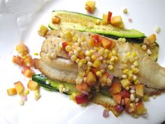 Pan-Roasted Flounder and Zucchini with Corn and Peach Salsa   Not Eating Out in New York