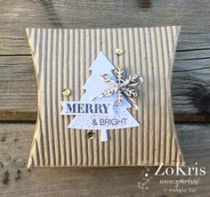 Stampin' Up ! - Square Pillow Box Thinlits Dies, Peaceful Pines, Perfect Pines Framelits Dies, Holly Jolly Greetings - ZoKris
