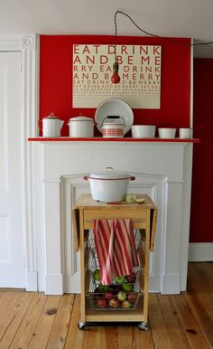 Kitchen Fun - Red above, white below. Also, I love the canvas