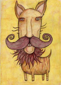 I love this wild man dog & his mane and mustache! #art #mustache #beast
