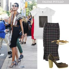Desafiando las faldas pitillo con una camiseta, todos productos disponibles en www.tiendafucsia.co