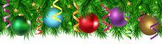 Christmas Pine Decorating Border PNG Clip Art Image