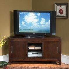 Chocolate 50-inch Sliding Door Corner Tv Console