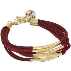 GUESS Multi Strand Faux Suede with Metal Tubes Bracelet... ($22) ❤ liked on Polyvore featuring jewelry, bracelets, guess charms, yellow gold bangle, lobster clasp charms, lobster claw clasp charms and guess jewelry