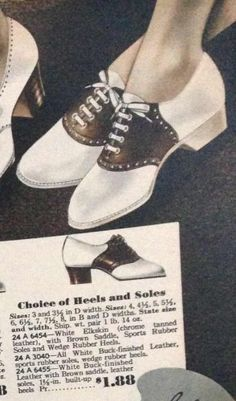 1937- Leather returns with black or brown saddle straps, white or black soles, and wedge or stacked heels