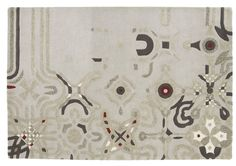 'Fragment' rug Perhaps a little 'Jean Miro'? 90% wool with 10% viscose, this sculpted design is in shades of beige with browns and burgundy.  Dims: 2 x 3 m