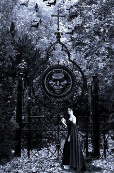 Dark #Gothic gates and neo-Victorian Goth girl