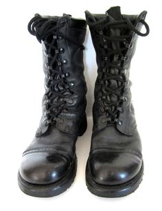 vintage 1980s black leather COMBAT boots military soldier police CORCORAN lace up ankle nine eyelet PUNK U S A mens 7 1/2 womens 9 goth. $74.00, via Etsy.