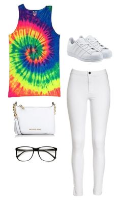 """""""Nerdy Tye Die Stuff"""" by fashionlifeforevaaa ❤ liked on Polyvore featuring adidas Originals and Michael Kors"""