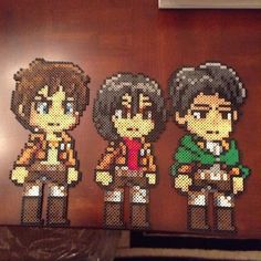 Attack on Titan perler beads (Eren, Mikasa and Levi) by the_world_ends_with_you