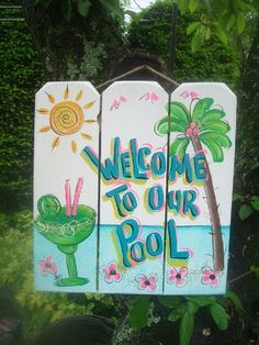 welcome to our pool tropical paradise spa patio beach house hot tub tiki bar hut parrothead handmade wood sign plaque Bars Tiki, Ibiza, Hut House, Pool Rules, Beach Signs, Lake Signs, Cool Pools, Pool Landscaping, Tropical Paradise