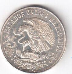 Moeda de prata (720) de 25 pesos - México - 1968 - 22,5..