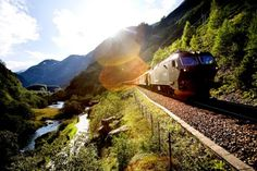 Bergen Railway links Oslo & Bergen in Norway. Considered the world's most beautiful railway line - most scenice in the world. Trip is 7 hours. This had been my favourite train journey's I had ever been to.