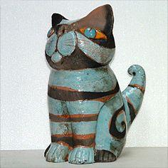 Ceramic Raku Cat by Martine Nonnenmacher