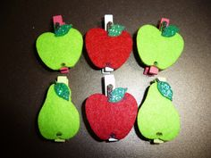 Felt Fruit Mix on Mini Clothes pegs  set of 6 by niknaxbyArlana, $2.50