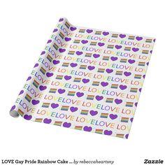 LOVE Gay Pride Rainbow Cake Purple Heart Gift Wrap