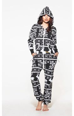 I have never wanted a onesie before....until now. Love! --Luxury OnePiece Lillehammer Adult Onesie in Dark Grey and White.