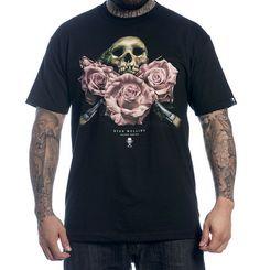 """Sullen """"Mullins Badge"""" Skull and Roses Mens Tattoo Design Tshirt - Vulcinity"""