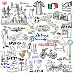 Milan Italy sketch elements. Hand drawn set with Duomo cathedral, flag, map, shoe, fashion items, pizza, shopping street, transport and traditional food. Drawing doodle collection, isolated on white