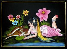 Mughal Paintings, Tanjore Painting, Indian Art Paintings, Village Scene Drawing, Indian Traditional Paintings, Rajasthani Painting, Glass Painting Designs, Madhubani Art, Cute Paintings