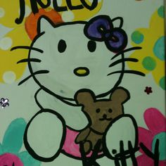 I looked up a picture of hello kitty on the Internet and thin started painting it on a canvas that I bought from wal mart