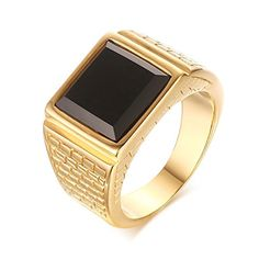 LAMUCH Men's Stainless Steel Black Onyx Gold Ring Europe and America Style