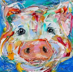 Pig painting original oil 6x6 palette knife by Karensfineart