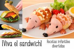 25 Creative Sandwich Ideas That Kids Will Love Food Art For Kids, Cooking With Kids, Cute Food, Good Food, Yummy Food, Bento Recipes, Baby Food Recipes, Sandwich Recipes For Kids, Childrens Meals