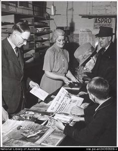 Drouin Newsagency, Victoria. Part of the Drouin town and rural life during World War II collection at the National Library of Australia.