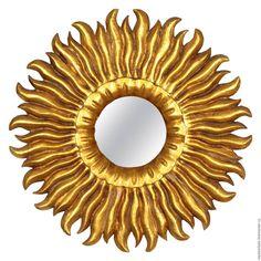Купить Золотое зеркало солнце Helios - зеркало настенное, зеркало солнце, резное…