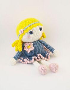 Amigurumi crochet doll  Sweet little girl in a ♡ by BubblesAndBongo