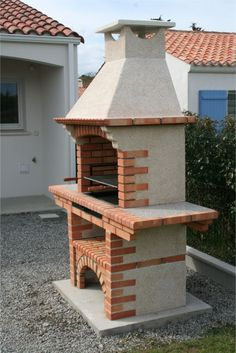 BBQ and ovens-Portuguese Brick BBQ - Travel tips - Travel tour - travel ideas Barbacoa Jardin, Brick Grill, Stone Bbq, Stainless Steel Grill, Bbq Area, Outdoor Living, Outdoor Decor, Bbq Grill, Garden Design