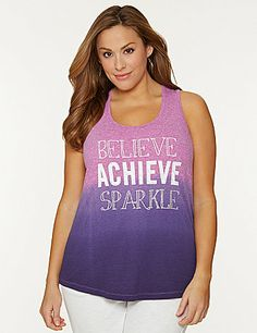 """Fun & fashionable active tank makes """"Believe Achieve Sparkle"""" your new motto with an feminine glitter graphic. Soft knit tank flatters with a scoop neckline and gathered racer back. lanebryant.com"""